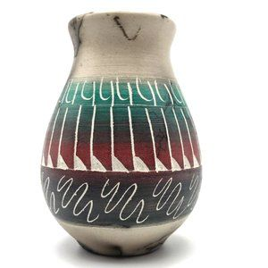 Native American Pottery Horsehair Beautiful Signed